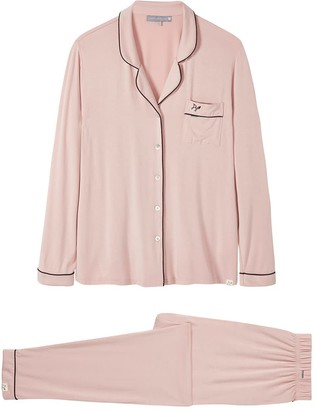 Pretty You London Bamboo Long Sleeved Trouser Pyjama Set In Pink