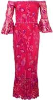 Marchesa Floral Midi Dress
