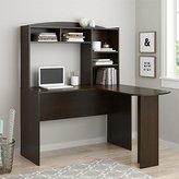 Altra Furniture Dakota Space Saving L Desk with Hutch, Dark Russet Cherry