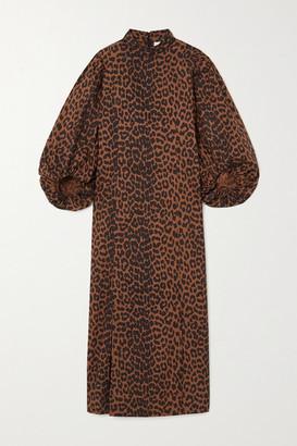 Ganni Net Sustain Leopard-print Organic Cotton-poplin Midi Dress