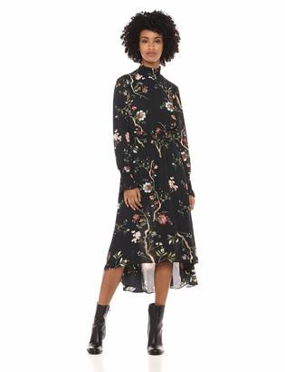 Nanette Lepore Nanette Women's Ls Prntd Dress W/Smock DTL & Hi/Lo Hem