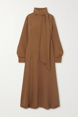 Victoria Beckham Tie-neck Crepe Midi Dress - Camel