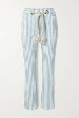 Miaou Tommy Belted Striped Straight-leg Jeans - Light denim