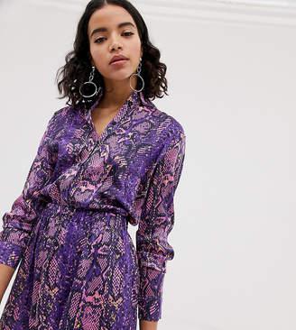 NA-KD Na Kd neon snake print blouse in purple
