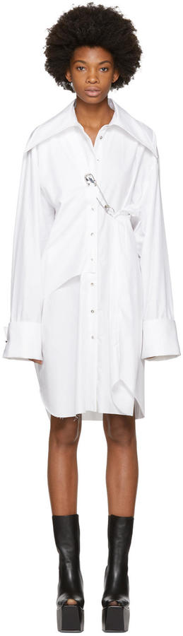 Marques Almeida White Double Front Safety Pin Dress
