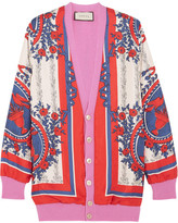 Gucci Wool-blend Trimmed Printed Silk Cardigan - Pink
