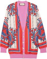 Gucci Wool-blend Trimmed Printed Silk Cardigan