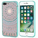 iPhone 7 Plus [5.5''] Case - UTUT Mint Mandala Totem Series Hybrid Protective Case with Soft TPU Bumper +Hard Back Cover [Scratch Resistant] Cover Case for iPhone 7 Plus (Mint Green)