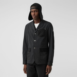 Burberry Slim Fit Panelled Nylon and Wool Tailored Jacket