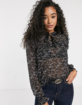 Pieces chiffon blouse with tie neck in black ditsy floral