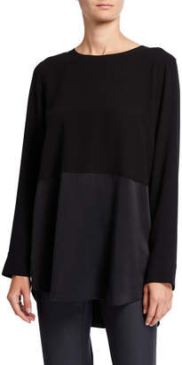 Eileen Fisher Silk Crepe Long-Sleeve Tunic