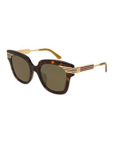 Gucci Metal & Acetate Square Sylvie Web Sunglasses, Brown Pattern