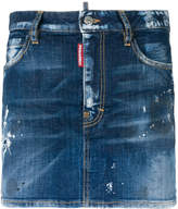 DSQUARED2 distressed paint spattered mini skirt