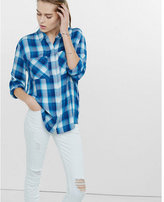 Express blue white and teal oversized plaid shirt
