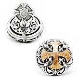 Scott Kay Mens Sparta Collection Sterling Hammered Brass Cross Cufflinks