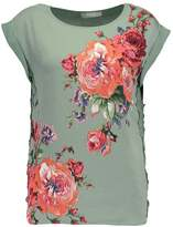 Oasis ROSE PLACEMENT LACE TRIM Print Tshirt multikhaki