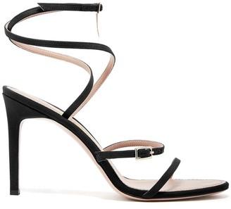 Oscar de la Renta Silk Crepe de Chine Ruby Asymmetric Sandals