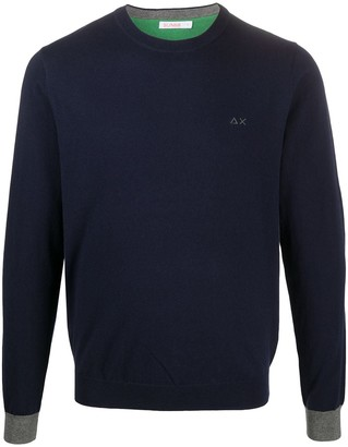 Sun 68 Fine Knit Sweatshirt With Elbow Patches