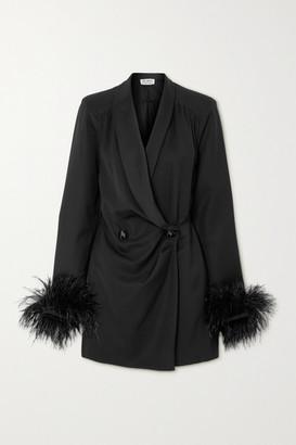 ATTICO Feather-trimmed Wool-blend Twill And Satin Mini Dress - Black