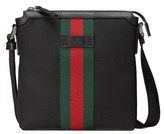 Gucci Men's Black Leather Messenger Bag.
