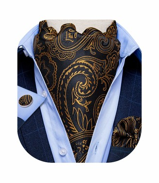 DiBanGu Teal Ascot Tie for Men Jacquard Plaids Cravat and Pocket Square Cufflinks Set for Men