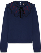 Roksanda Langton Velvet-trimmed Ruffled Wool And Cashmere-blend Sweater - Blue