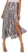 Topshop Women's Ruched Metallic Midi Skirt