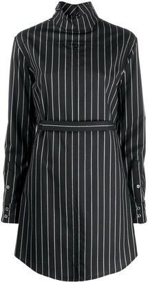 Coperni Pinstriped Cut-Out Shirt Dress