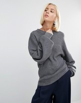 Weekday Rib Knit Sweater with Balloon Sleeve Detail