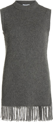 Paco Rabanne Fringed Ribbed Wool-Blend Tunic