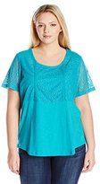 Fresh Women's Plus-Size Short Sleeve Lace Detailed Shirt Tail Top