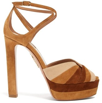 Aquazzura La Di Da Tri-tone Suede Platform Sandals - Womens - Tan Multi