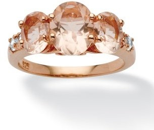 PalmBeach Jewelry .24 TCW Cubic Zirconia and Oval-Cut Morganite Ring in Rose Gold over Sterling Silver Bold