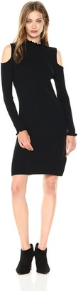 Laundry by Shelli Segal Women's Mock Neck Cold Shoulder Sweater Dress with Ruffle Trim