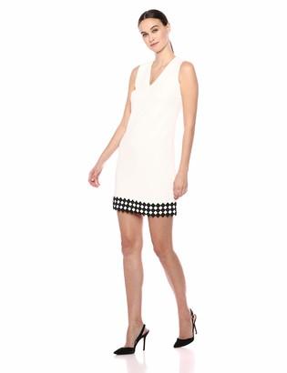 Calvin Klein Women's Sleeveless V Neck Shift with Novelty Trim Dress