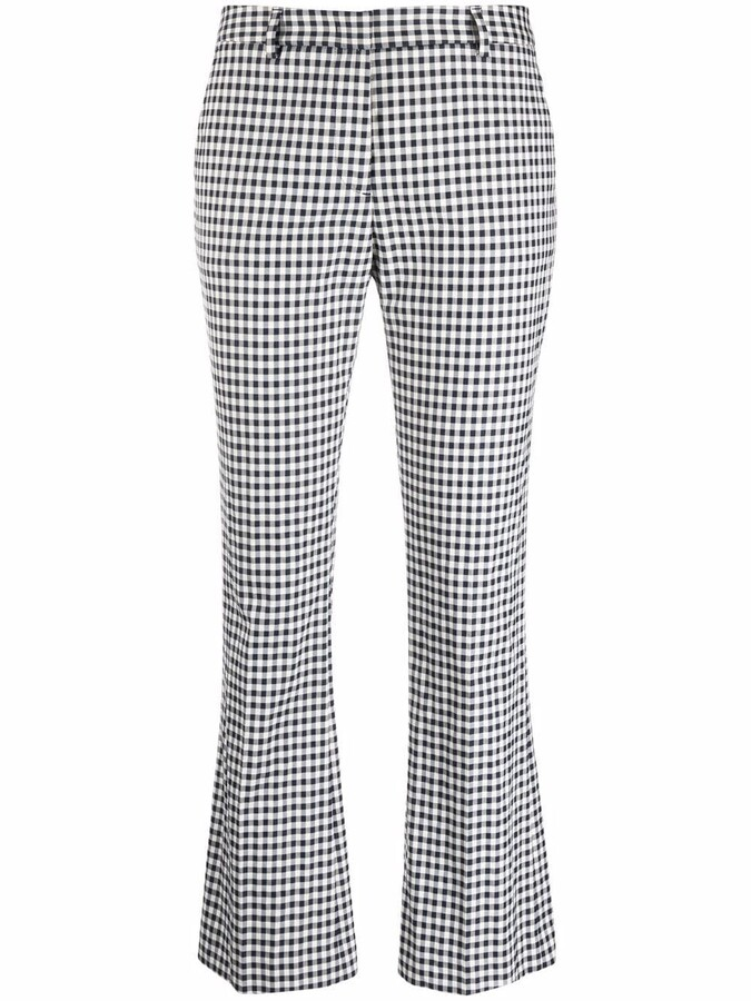 Pt01 Gingham Check-Print Flared Trousers