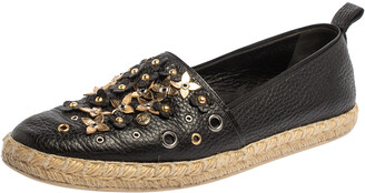 Louis Vuitton Black Leather Flower Embellished Espadrilles Slip On Loafers Size 40