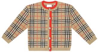 BURBERRY KIDS Check merino wool cardigan