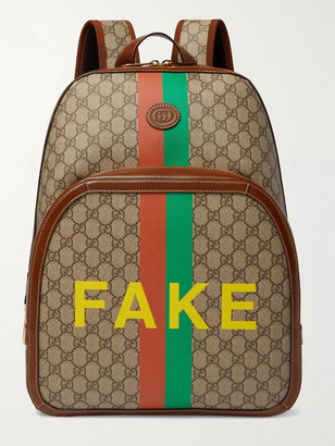 Gucci Logo-Appliqued Leather-Trimmed Printed Monogrammed Coated-Canvas Backpack