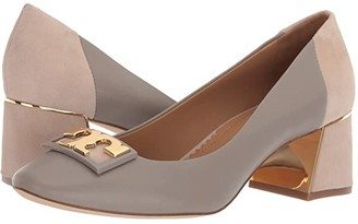 Tory Burch 55 mm Gigi Round Toe Pump (Gray Heron/Light Taupe) Women's Shoes