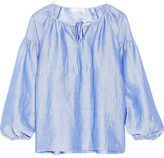 Co Ramie-blend Top - Light blue