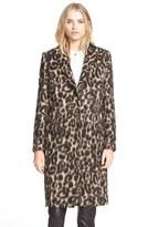 Burberry Women's 'Croasdale' Leopard Print Wool & Alpaca Reefer Coat