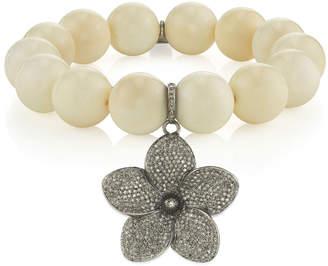Sheryl Lowe Beaded White Bone Bracelet w/ Diamond Flower