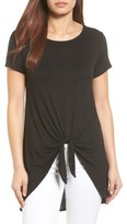 Bobeau Petite Women's Tie Front High/low Tee