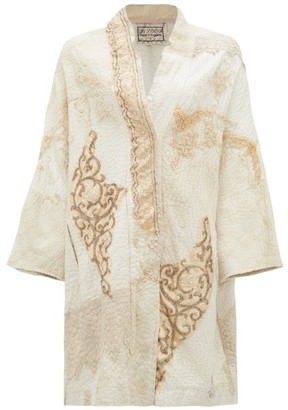 By Walid Jasemine Victorian Beaded-silk Coat - Ivory Multi