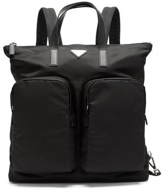Prada Logo-plaque Nylon Tote-bag Backpack - Black