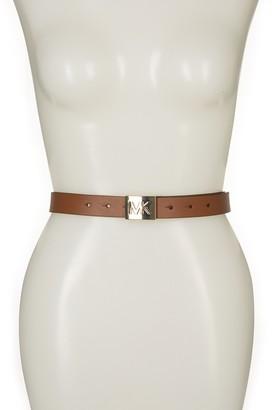 Michael Kors Square Logo Buckle Leather Belt