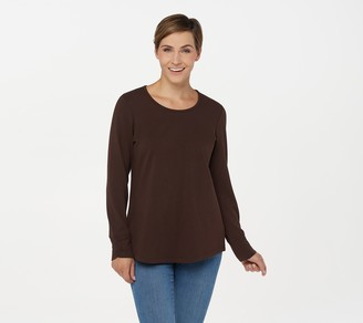 Denim & Co. Essentials French Terry Scoop Neck Long-Sleeve Top