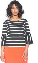 ELOQUII Plus Size Striped Pleated Sleeve Top