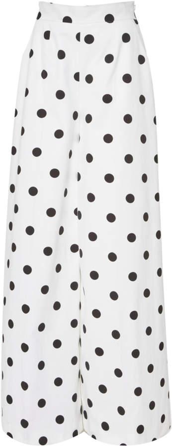 Oscar de la Renta Polka-Dot Cotton Wide-Leg Pants